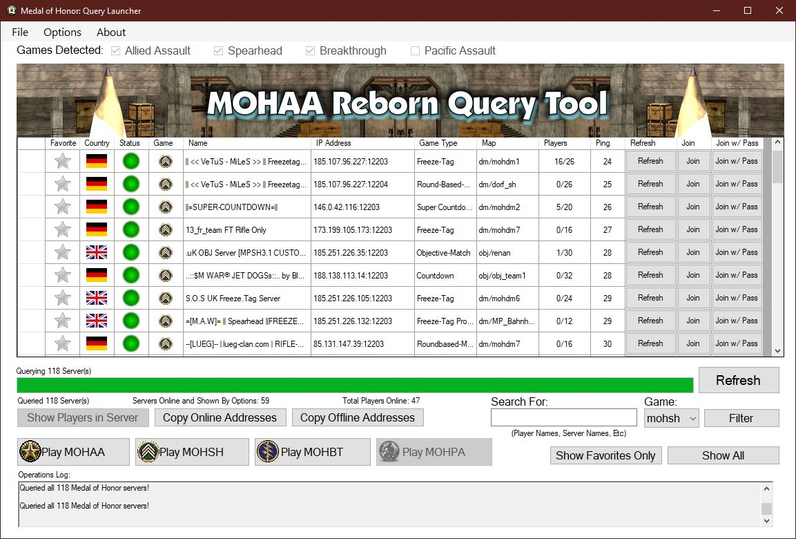 MoH Query Launcher ver. 1.0.0.29
